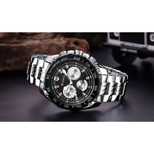 Curren Luxury Lifestyle Silver Black Sports Watch for Men