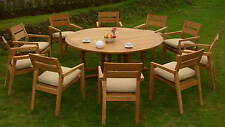 """11 PC GARDEN TEAK DINING PATIO POOL SET - 72"""" ROUND TABLE,10 STACKING ARM CHAIRS"""