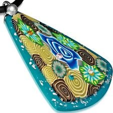 Fashion Fimo Polymer Clay Rose Flower Long Triangle Charm Necklace FPA177
