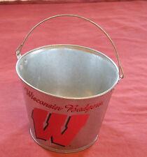 """Wisconsin Badgers NCAA Metal Ice Bucket 8"""" UW Bottle Holder Party Pail Cooler"""