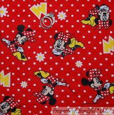 BonEful FABRIC FQ Cotton Quilt Flannel Red White Minnie Mouse Disney Dot Flower