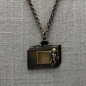 Handmade antique brass suit case I love you cherub necklace