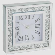 Modern Sparkly Diamond Crystal Mirror Glass Square Wall Clock 20 cm Silver