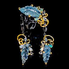 Handmade17ct+ Natural Aquamarine 925 Sterling Silver SET Ring Size 8.25/R122247
