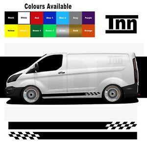 Side Stripe Stickers Decals Vinyl Graphics For Ford Transit Custom Van SWB