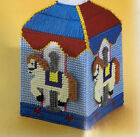 ''COUNTRY CAROUSEL TISSUE BOX COVER'' ~*~PLASTIC  CANVAS PATTERN~*~