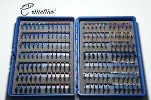 eliteflies 168 Competition Barbless Nymphs box fly fishing flies buzzer trout