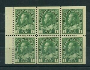 Booklet pane Admiral #104a one cent green Very Fine MNH Cat $100 Canada mint