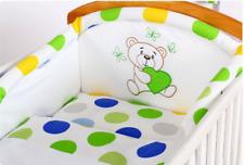 LUX 3pc Set di biancheria da letto lettino 100% cotone con Teddy ricamo bianco/a Pois Paraurti