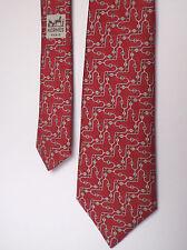 Cravatta elegante di Hermès Paris 924 ha-SETA SOIE SILK-Rosso, DECORO GRIGIO-TOP!