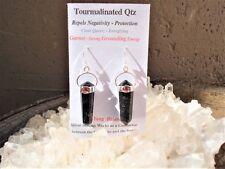 Quartz+Tourmaline+Red Garnet Silver Earrings-Helps Prevent Negative Energy