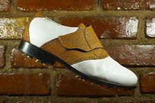 Tauer & Johnson White Brown Strap Soft Spike Golf Shoes  Mens Size US 11.5 2E
