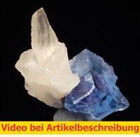 7969 Fluorite Calcite ca 3*5*3 cm Minerva Mine Illinois 1993 USA  MOVIE