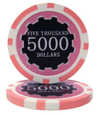 "25 ct Pink $5000 5k Five Thousand Dollars ""Eclipse"" Series 14 Grams Poker Chips"