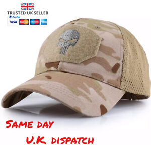 Punisher Multicam Baseball Cap Operators Hat Airsoft Camo Camouflage CP Hunting