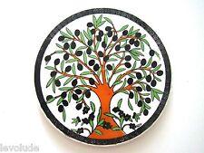 Handmade Pottery Turkish Kutahya Ceramic 6,5''  Hot Plate -Trivet Olive Tree