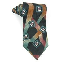 "T.K.S. for Nordstrom Mens Necktie Geometric Black Tan Green Red Silk Tie 57""x4"""