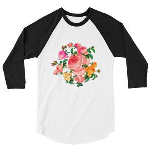 T-shirt à Manches Raglan 3/4 Seductive Romantic bouquet roses Garland flowers