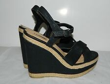 Express Black Wedge Platform Sandals Shoes heels womens  Sz 9