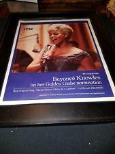 Beyonce Knowles Rare Original Golden Globes Promo Poster Ad Framed!