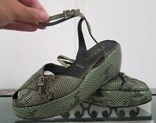 Prada Green Snakeskin Slingback Platform Wedge Sandals. Size 39.5 US 9.5