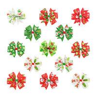 12PCS Christmas Bow Hair Clip Alligator Clips Girls Ribbon Kids Accessories