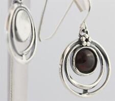 EARRINGS  Ladies 925 Sterling Silver - Garnet in Circles( by Shablool )