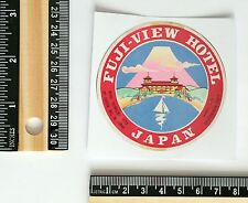 Vintage old Luggage Label style Fuji View Hotel Japan 7cm Decal Sticker #2736