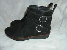 FITFLOP WOMEN BLACK LEATHER BUCKLE/ZIP ANKLE BOOT SIZE UK 3 EU 36 US 5 VGC