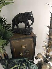 Antique Deco HUGE Statement Piece Chalkware Base Brass Bronze Elephant Statue