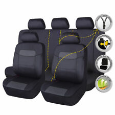Car Seat Covers Set Waterproof PU Faux Leather Universal Black Protector SUV
