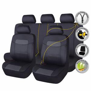 Car Seat Covers Leather Waterproof Universal Set Split 40/60 50/50 Black Grey