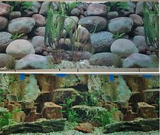 "Aquarium Background 48"" x 18.5"" 2 Sided Rocky Plants Petrified Wood Freshwater"