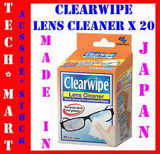 CLEARWIPE◉LENS GLASS SUNGLASS WATCH CLEANER◉20 x PRE-MOISTENED MICROFIBRE WIPES◉