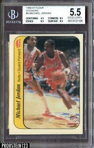 1986-87 Fleer Sticker Basketball #8 Michael Jordan RC Rookie HOF BGS 5.5 w/ 8.5