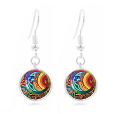Sun and Moon Photo Tibet Silver Dome Photo 16MM Glass Cabochon Long Earrings#183