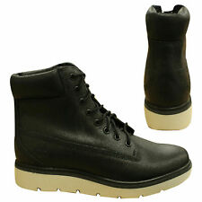 Timberland Kenniston 6 Inch Womens Black Waxed Leather Lace Up Boots A1IRY B89E