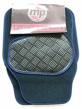 Fiat Stilo (02-Now) Navy Blue 650g Velour Carpet Car Mats - Rubber Heel Pad