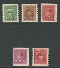 Canada 1942-43 King George VI definitive coils (263-67) MH