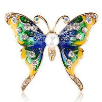 Emaille Schmetterling Brosche Strass Kristall Kragen Tier Brosche Schmu sg