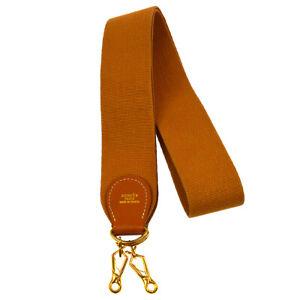 HERMES Vintage Logos Shoulder Strap Brown Canvas Leather Authentic AK38015i