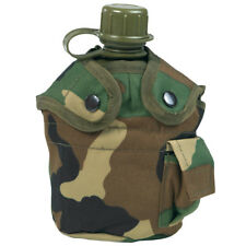 US ARMY WATER BOTTLE CANTEEN TRAVEL CAMPING BOTTLE WITH Woodland CAMO COVER
