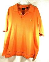 Men's Izod Short Sleeve Polo Shirt Large Orange Embroidered patch Free Shipping!