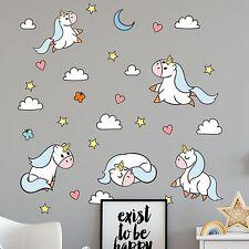 Cute Unicorn Wall Sticker Decal Set - Clouds Hearts Star - Nursery Bedroom Decor