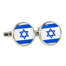 State of Israel Flag Round Cufflinks Boxed Israeli Degel Yisrael Magen David NEW
