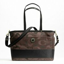 NWT Coach Signature Stripe Diaper LAPTOP BABY Bag Multifunction Tote 20037