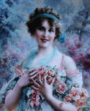 Oldfashioned Lady with Roses vintage art by Emile Vernon