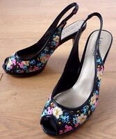 M&S Limited Collection Ladies Slingback Peep Toe Floral Shoes Size UK 6 EUR 39.5
