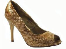 Damita K Women's Peep-Toe Evening Classic Pumps In Gold Snake Size 6.5