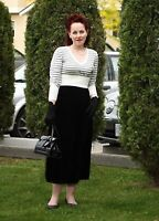 Womens New Black Crush Velvet Skirt Long Gothic Range Ladies Plus Size 16 - 30